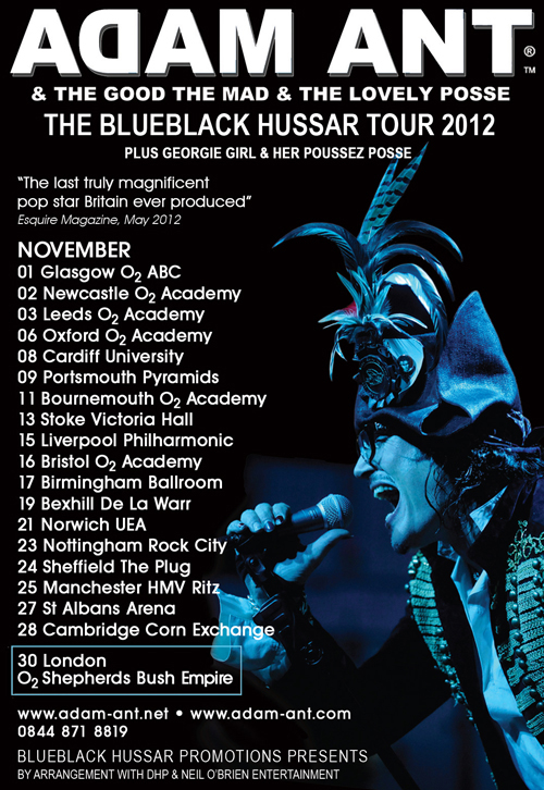 Adam Ant Blue Back Tour